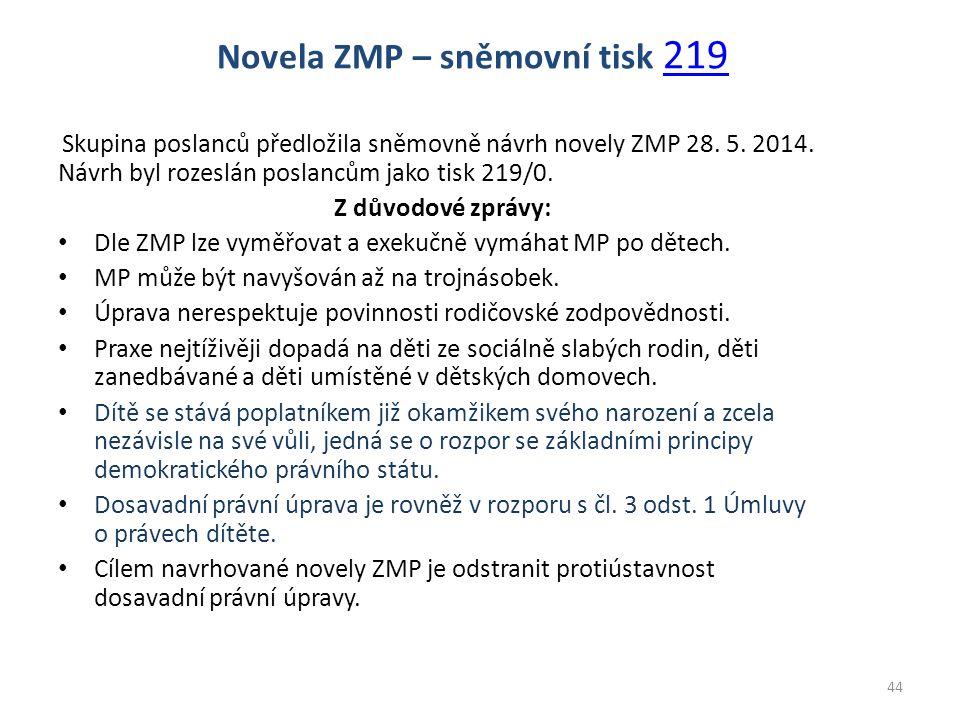 Skupina poslanců předložila sněmovně návrh novely ZMP 28. 5. 2014. Návrh byl rozeslán poslancům jako tisk 219/0. Z důvodové zprávy: Dle ZMP lze vyměřo