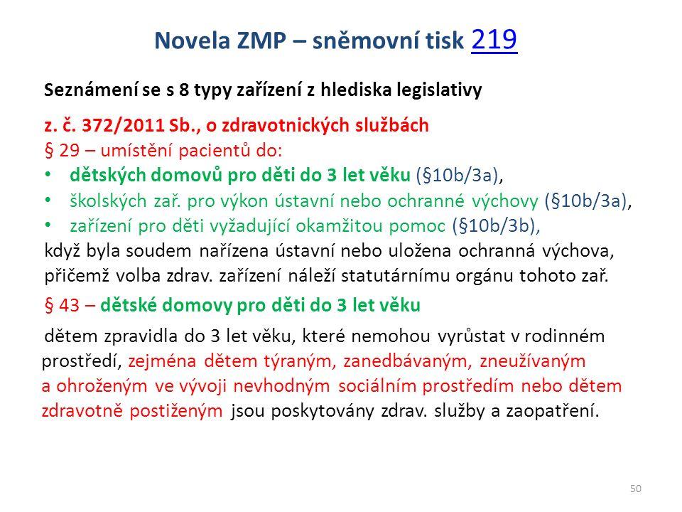 Seznámení se s 8 typy zařízení z hlediska legislativy z. č. 372/2011 Sb., o zdravotnických službách § 29 – umístění pacientů do: dětských domovů pro d