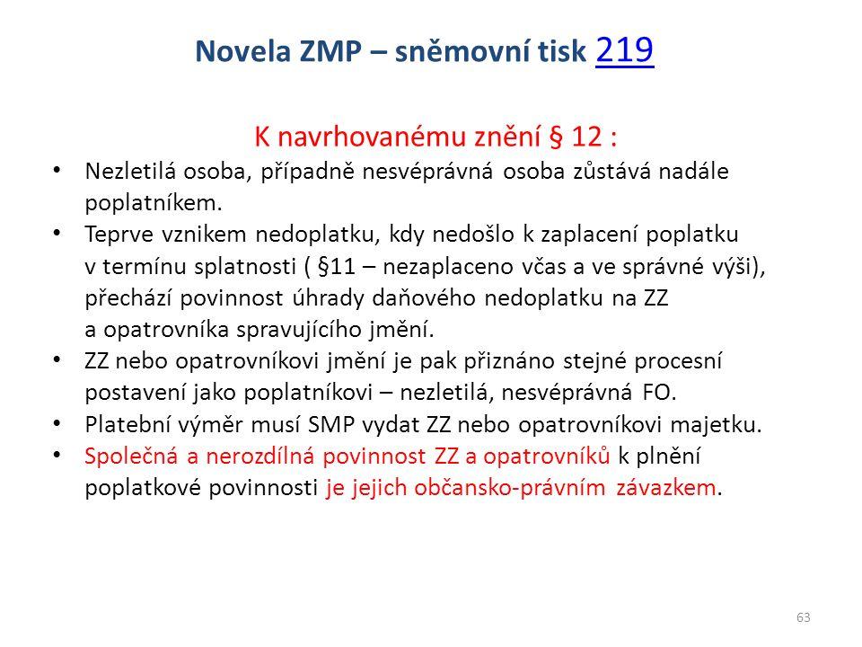 K navrhovanému znění § 12 : Nezletilá osoba, případně nesvéprávná osoba zůstává nadále poplatníkem. Teprve vznikem nedoplatku, kdy nedošlo k zaplacení