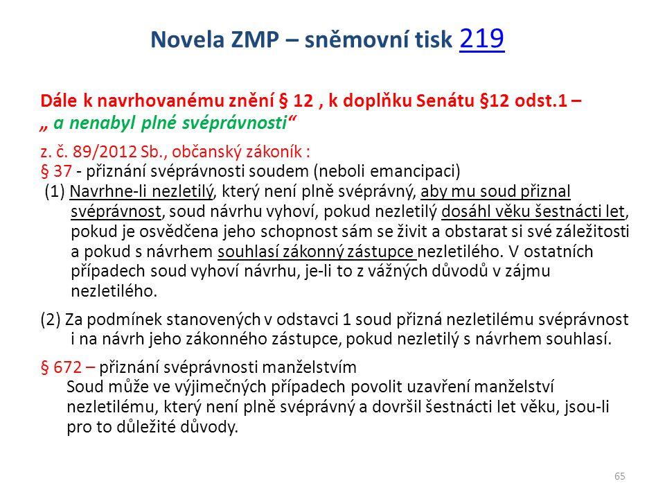 """Dále k navrhovanému znění § 12, k doplňku Senátu §12 odst.1 – """" a nenabyl plné svéprávnosti"""" z. č. 89/2012 Sb., občanský zákoník : § 37 - přiznání své"""