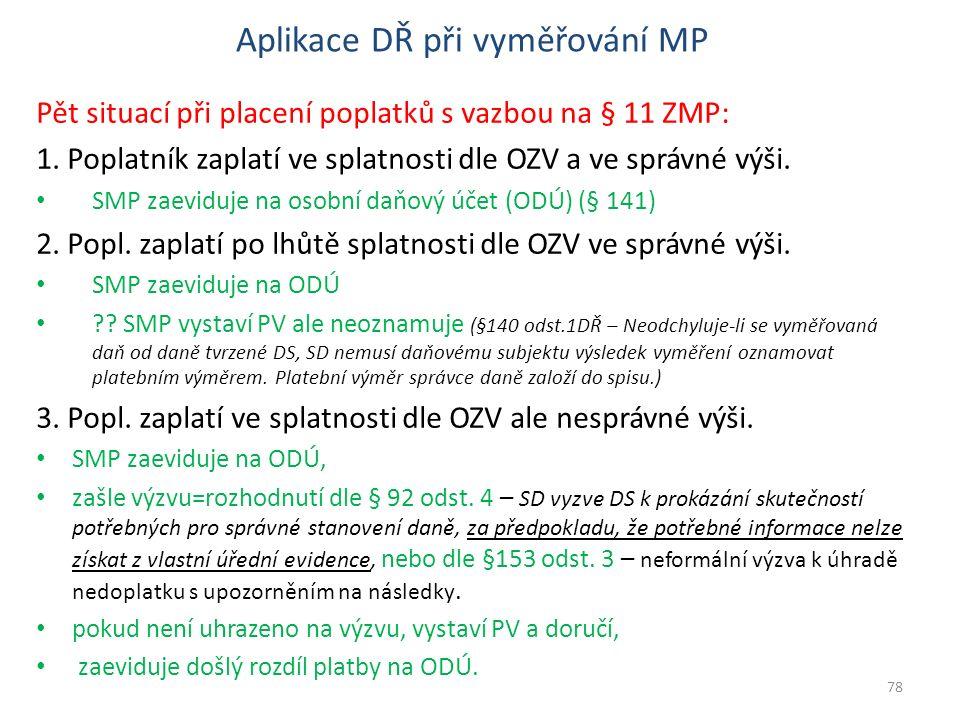 Aplikace DŘ při vyměřování MP Pět situací při placení poplatků s vazbou na § 11 ZMP: 1. Poplatník zaplatí ve splatnosti dle OZV a ve správné výši. SMP