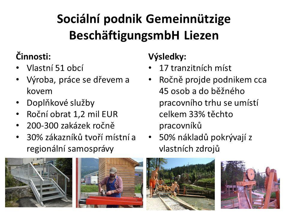 Sociální podnik Gemeinnützige BeschäftigungsmbH Liezen Činnosti: Vlastní 51 obcí Výroba, práce se dřevem a kovem Doplňkové služby Roční obrat 1,2 mil EUR 200-300 zakázek ročně 30% zákazníků tvoří místní a regionální samosprávy Výsledky: 17 tranzitních míst Ročně projde podnikem cca 45 osob a do běžného pracovního trhu se umístí celkem 33% těchto pracovníků 50% nákladů pokrývají z vlastních zdrojů