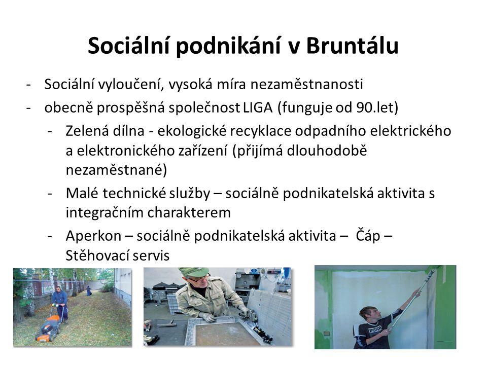 Sociální podnikání v Bruntálu -Sociální vyloučení, vysoká míra nezaměstnanosti -obecně prospěšná společnost LIGA (funguje od 90.let) -Zelená dílna - ekologické recyklace odpadního elektrického a elektronického zařízení (přijímá dlouhodobě nezaměstnané) -Malé technické služby – sociálně podnikatelská aktivita s integračním charakterem -Aperkon – sociálně podnikatelská aktivita – Čáp – Stěhovací servis