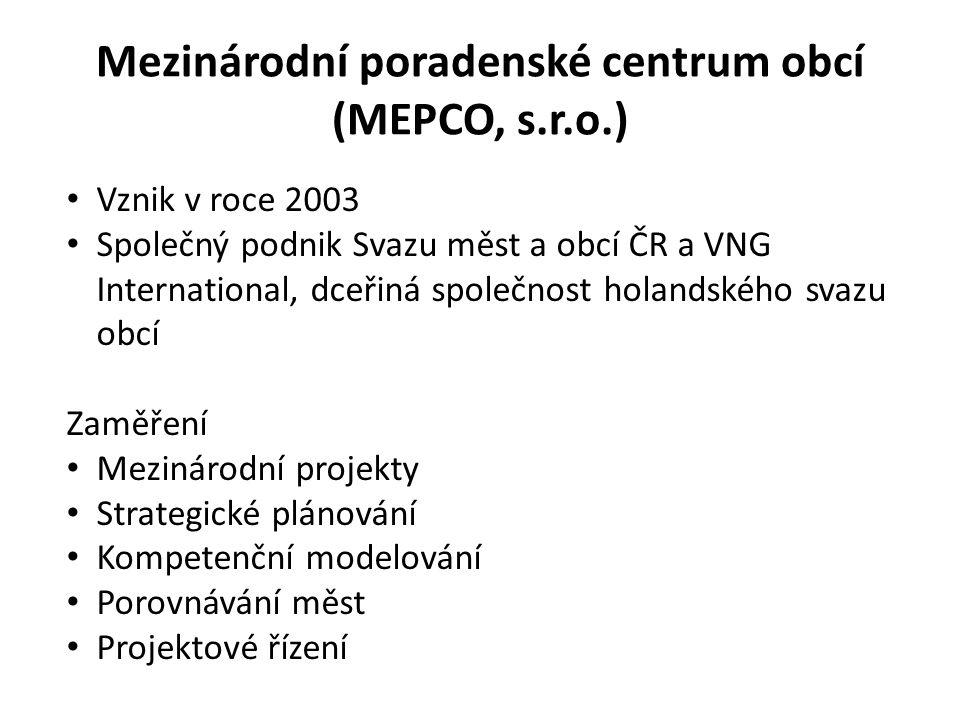 Mezinárodní poradenské centrum obcí (MEPCO, s.r.o.) Vznik v roce 2003 Společný podnik Svazu měst a obcí ČR a VNG International, dceřiná společnost holandského svazu obcí Zaměření Mezinárodní projekty Strategické plánování Kompetenční modelování Porovnávání měst Projektové řízení