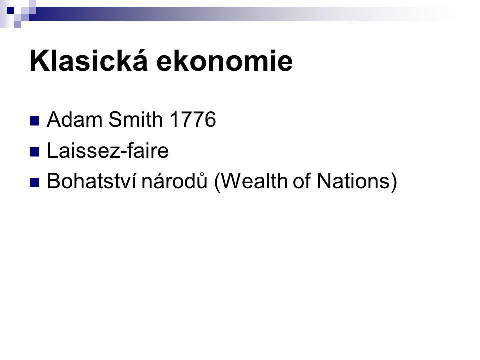 Klasická ekonomie Adam Smith 1776 Laissez-faire Bohatství národů (Wealth of Nations)