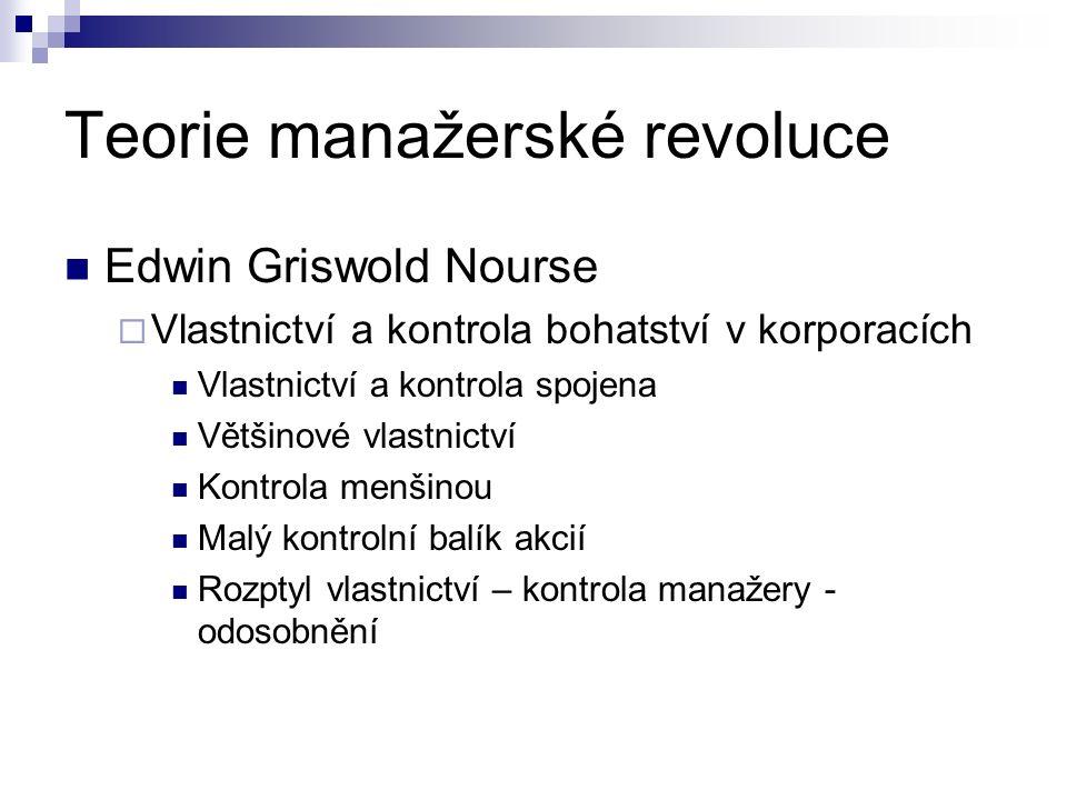 Teorie manažerské revoluce Edwin Griswold Nourse  Vlastnictví a kontrola bohatství v korporacích Vlastnictví a kontrola spojena Většinové vlastnictví