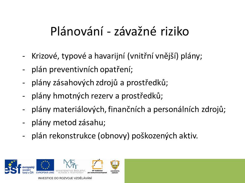 Plánování - závažné riziko -Krizové, typové a havarijní (vnitřní vnější) plány; -plán preventivních opatření; -plány zásahových zdrojů a prostředků; -
