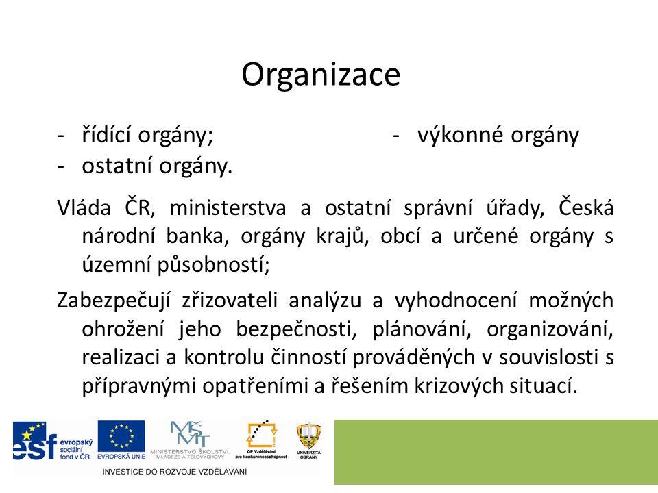 Organizace -řídící orgány;- výkonné orgány -ostatní orgány.