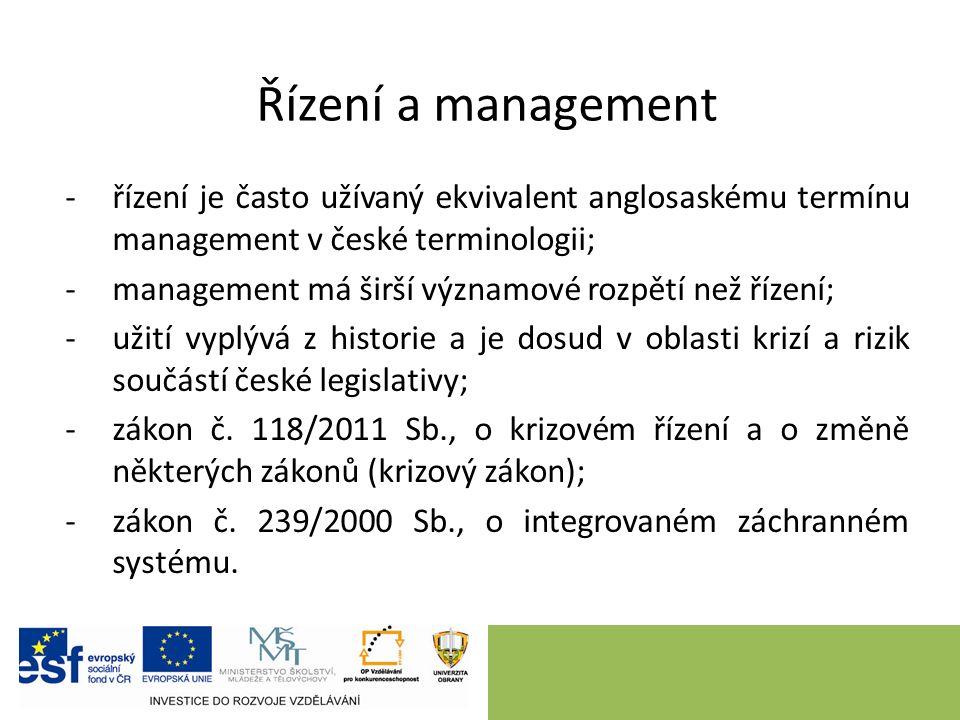 Řízení a management -řízení je často užívaný ekvivalent anglosaskému termínu management v české terminologii; -management má širší významové rozpětí než řízení; -užití vyplývá z historie a je dosud v oblasti krizí a rizik součástí české legislativy; -zákon č.