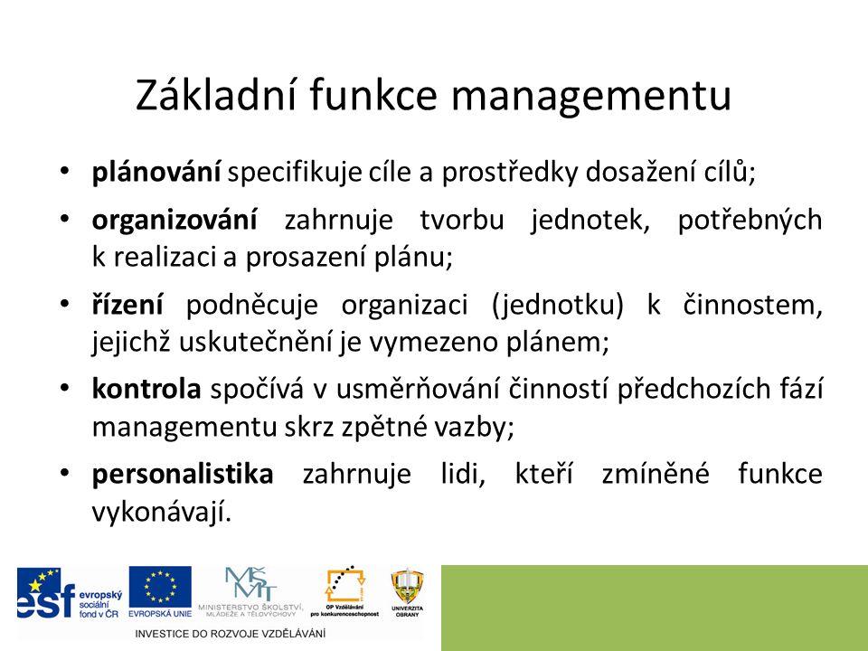 Základní funkce managementu plánování specifikuje cíle a prostředky dosažení cílů; organizování zahrnuje tvorbu jednotek, potřebných k realizaci a pro