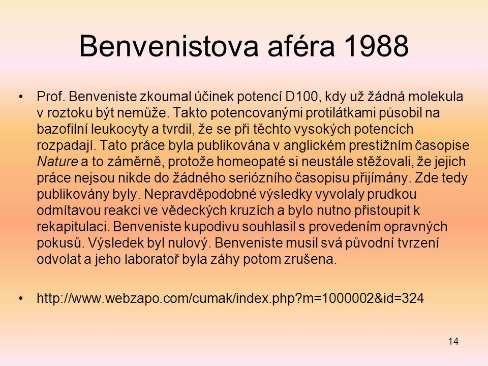 Benvenistova aféra 1988 Prof. Benveniste zkoumal účinek potencí D100, kdy už žádná molekula v roztoku být nemůže. Takto potencovanými protilátkami půs