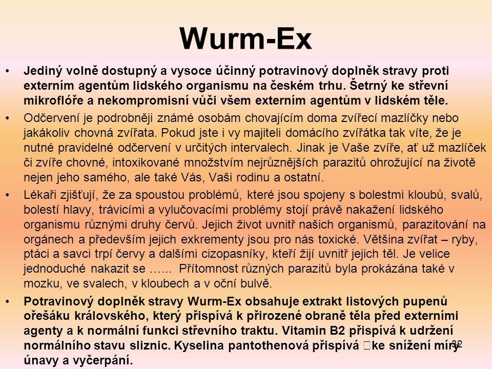 Wurm-Ex Jediný volně dostupný a vysoce účinný potravinový doplněk stravy proti externím agentům lidského organismu na českém trhu.