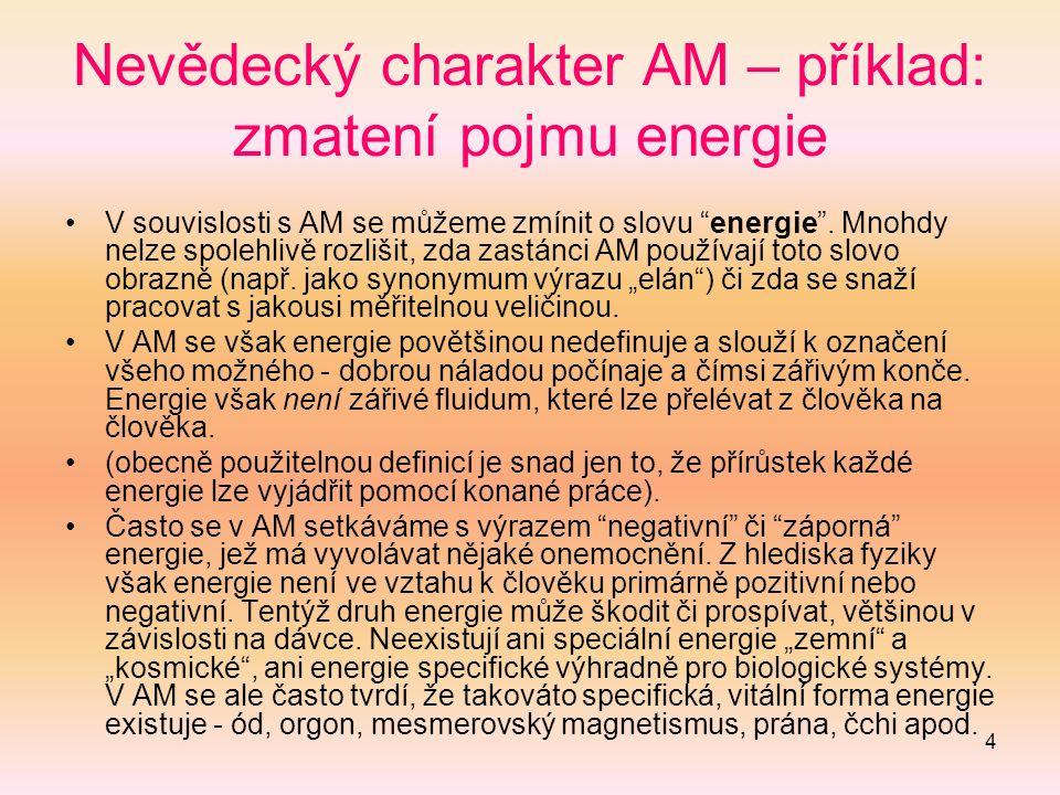 4 Nevědecký charakter AM – příklad: zmatení pojmu energie V souvislosti s AM se můžeme zmínit o slovu energie .