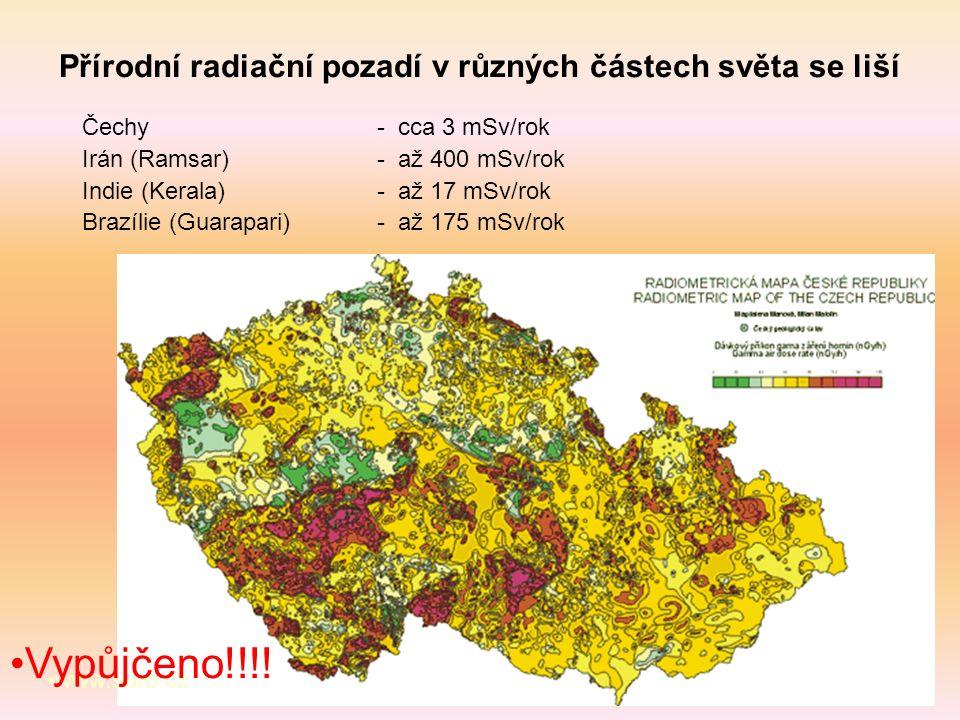 Přírodní radiační pozadí v různých částech světa se liší Čechy - cca 3 mSv/rok Irán (Ramsar) - až 400 mSv/rok Indie (Kerala) - až 17 mSv/rok Brazílie (Guarapari) - až 175 mSv/rok www.suro.cz Vypůjčeno!!!!
