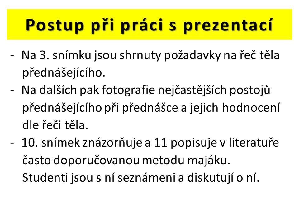 Postup při práci s prezentací -Na 3. snímku jsou shrnuty požadavky na řeč těla přednášejícího.
