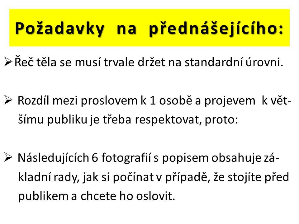 Požadavky na přednášejícího:  Řeč těla se musí trvale držet na standardní úrovni.