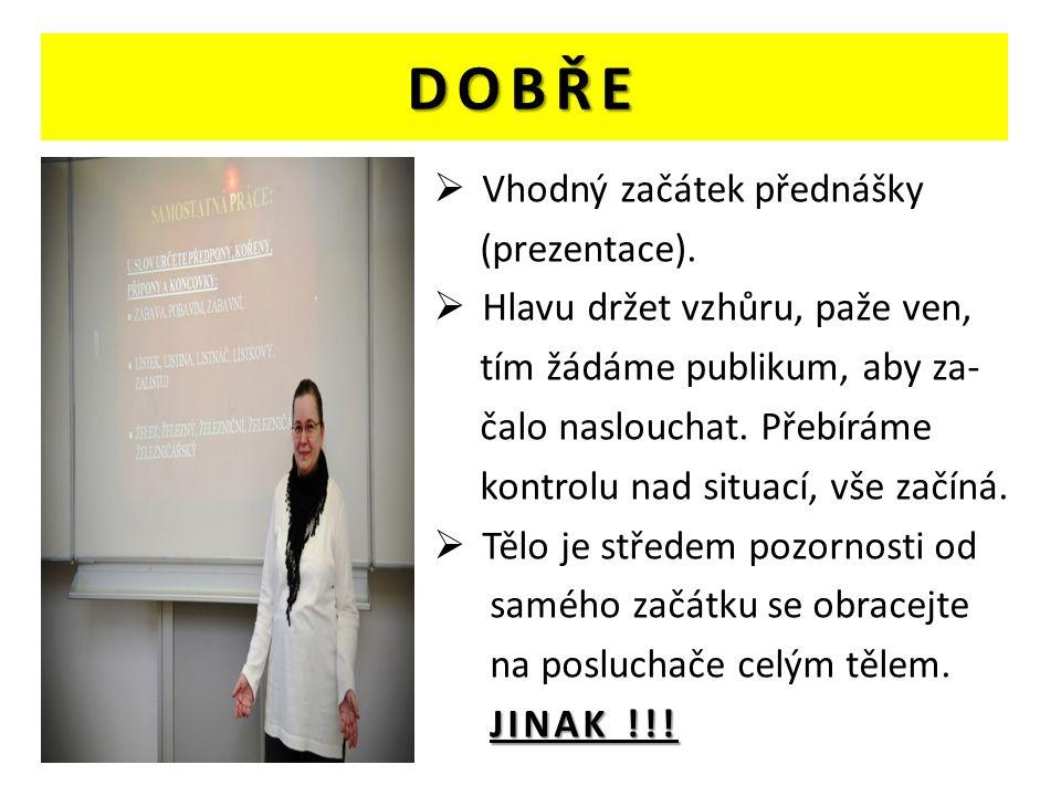 DOBŘE  Vhodný začátek přednášky (prezentace).