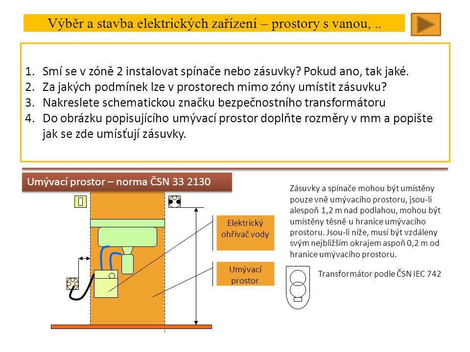 Výběr a stavba elektrických zařízení – prostory s vanou,.. V zóně 2:IPX4, elektrické rozvody omezeny na ty, které jsou nutné pro napájení pevných elek