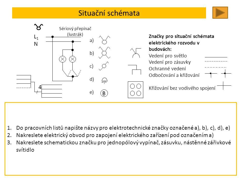 Situační schémata Trojpólový vypínač Jednopólový vypínač Dvojpólový vypínač Trojpólový stykač Pojistka ve třech fázích Trojpólový jistič Zásuvka Dvojnásobná zásuvka Zásuvka s ochranným kontaktem Svítidlo žárovkové Nástěnné zářivkové Zářivkové dvoulinkové Výbojkové (1 výbojka) Výbojkové (2 výbojky) Krabice kulatá Drobná skříňka Značky pro situační schémata elektrického rozvodu v budovách: Vedení pro světlo Vedení pro zásuvky Ochranné vedení Odbočování a křižování Křižování bez vodivého spojení 4 Jednočárové kreslení – zmenšení počtu čar vedoucí jedním směrem B L1NL1N Sériový přepínač (lustrák) a) b) c) d) e) 1.Do pracovních listů napište názvy pro elektrotechnické značky označené a), b), c), d), e) 2.Nakreslete elektrický obvod pro zapojení elektrického zařízení pod označením a) 3.Nakreslete schematickou značku pro jednopólový vypínač, zásuvku, nástěnné zářivkové svítidlo