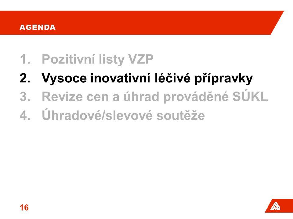 AGENDA 1.Pozitivní listy VZP 2.Vysoce inovativní léčivé přípravky 3.Revize cen a úhrad prováděné SÚKL 4.Úhradové/slevové soutěže 16