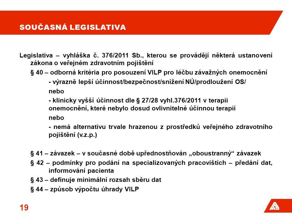 SOUČASNÁ LEGISLATIVA Legislativa – vyhláška č. 376/2011 Sb., kterou se provádějí některá ustanovení zákona o veřejném zdravotním pojištění § 40 – odbo