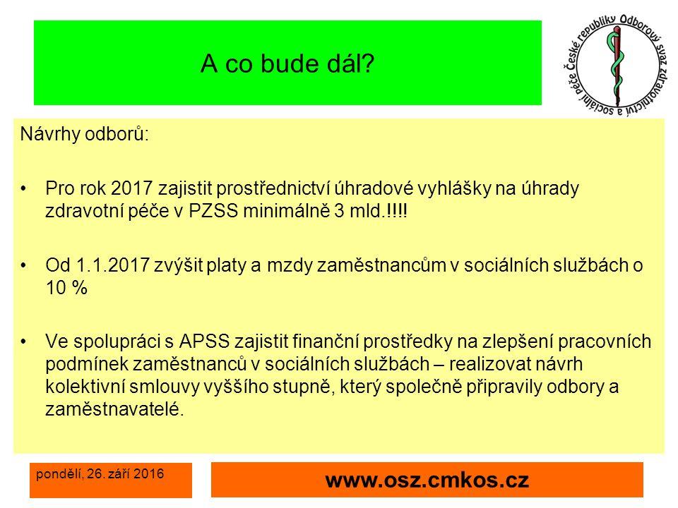 pondělí, 26. září 2016 www.osz.cmkos.cz A co bude dál.