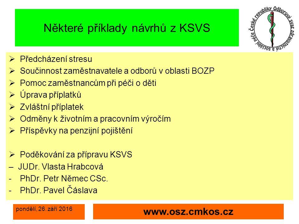 pondělí, 26. září 2016 www.osz.cmkos.cz Děkuji za pozornost a spolupráci