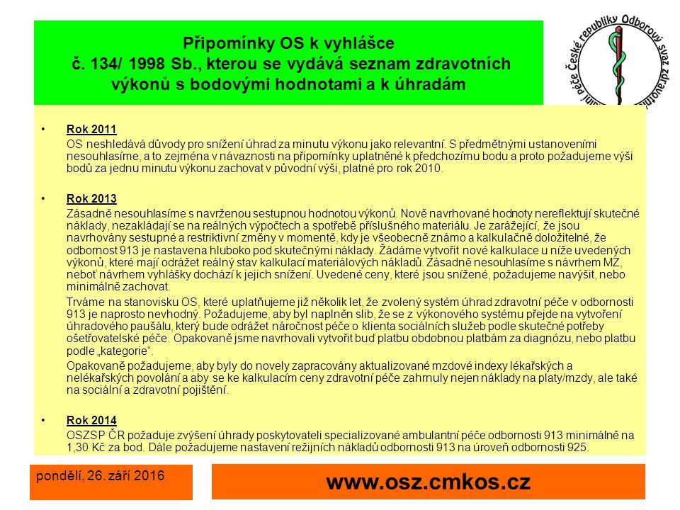 pondělí, 26. září 2016 www.osz.cmkos.cz Připomínky OS k vyhlášce č.