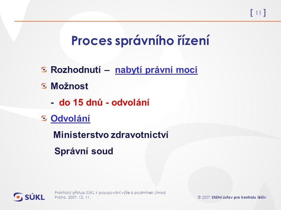 [ 11 ] © 2007 Státní ústav pro kontrolu léčiv Praktický přístup SÚKL k posuzování výše a podmínek úhrad Praha 2007.