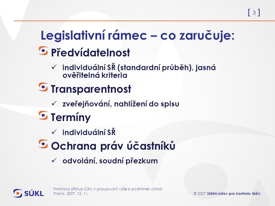 [ 14 ] © 2007 Státní ústav pro kontrolu léčiv Praktický přístup SÚKL k posuzování výše a podmínek úhrad Praha 2007.