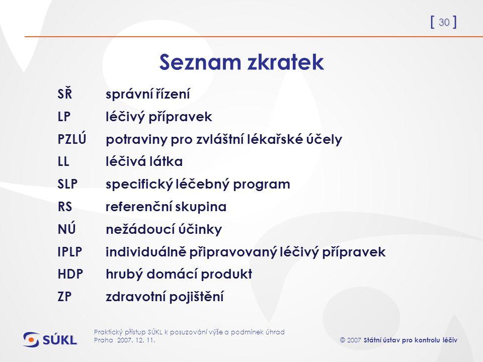 [ 30 ] © 2007 Státní ústav pro kontrolu léčiv Praktický přístup SÚKL k posuzování výše a podmínek úhrad Praha 2007.