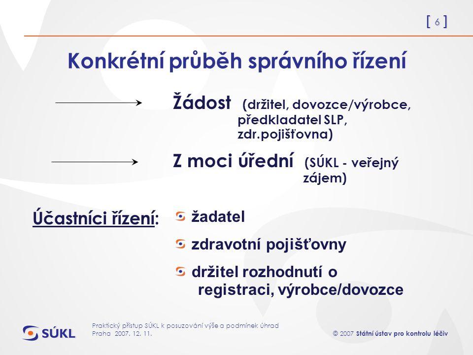 [ 6 ] © 2007 Státní ústav pro kontrolu léčiv Praktický přístup SÚKL k posuzování výše a podmínek úhrad Praha 2007.