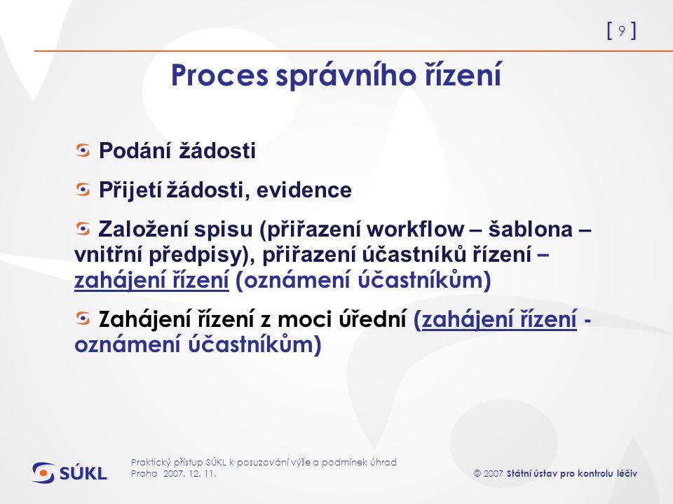 [ 9 ] © 2007 Státní ústav pro kontrolu léčiv Praktický přístup SÚKL k posuzování výše a podmínek úhrad Praha 2007.