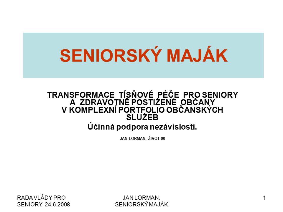 RADA VLÁDY PRO SENIORY 24.6.2008 JAN LORMAN: SENIORSKÝ MAJÁK 2 ŽIVOT 90 VÝCHODISKA Patnáctiletá praxe realizovaná v o.s.