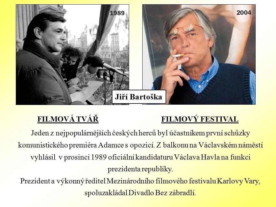 FILMOVÁ TVÁŘ FILMOVÝ FESTIVAL Jeden z nejpopulárnějších českých herců byl účastníkem první schůzky komunistického premiéra Adamce s opozicí.