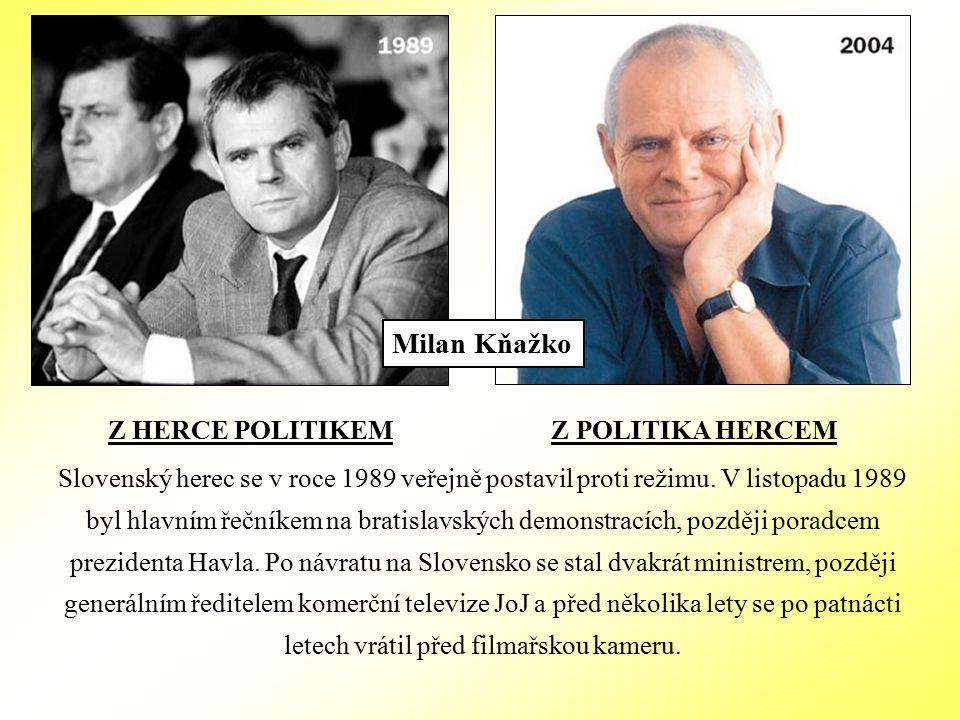 Z HERCE POLITIKEM Z POLITIKA HERCEM Slovenský herec se v roce 1989 veřejně postavil proti režimu.