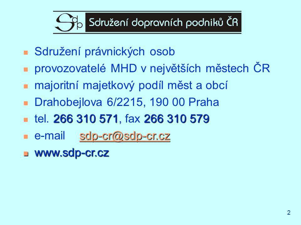 2 Sdružení právnických osob provozovatelé MHD v největších městech ČR majoritní majetkový podíl měst a obcí Drahobejlova 6/2215, 190 00 Praha 266 310