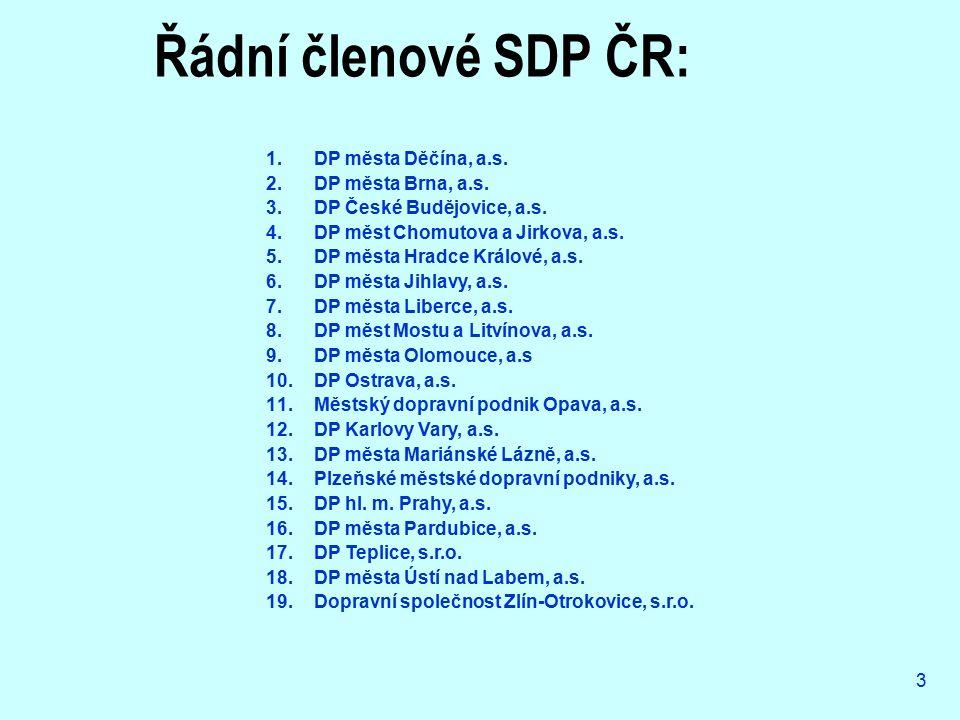 3 Řádní členové SDP ČR: 1.DP města Děčína, a.s. 2.DP města Brna, a.s. 3.DP České Budějovice, a.s. 4.DP měst Chomutova a Jirkova, a.s. 5.DP města Hradc