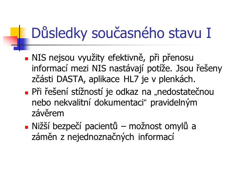 Důsledky současného stavu I NIS nejsou využity efektivně, při přenosu informací mezi NIS nastávají potíže.