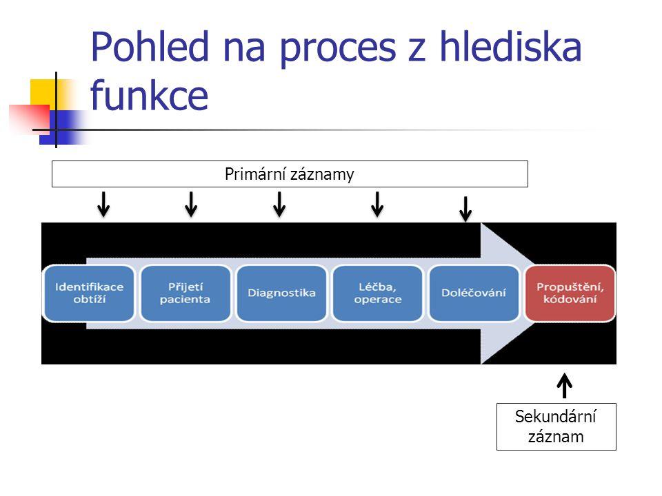 Pohled na proces z hlediska funkce Primární záznamy Sekundární záznam