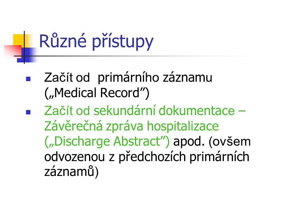 """Různé přístupy Začít od primární ho záznam u (""""Medical Record ) Začít od sekundární dokumentac e – Závěrečná zpráva hospitalizace (""""Discharge Abstract ) apod."""