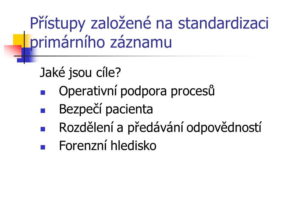 Přístupy založené na standardizaci primárního záznamu Jaké jsou cíle.