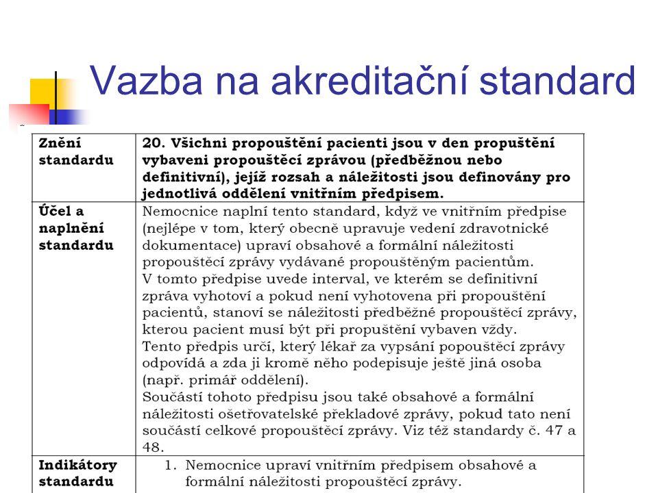 Vazba na akreditační standard
