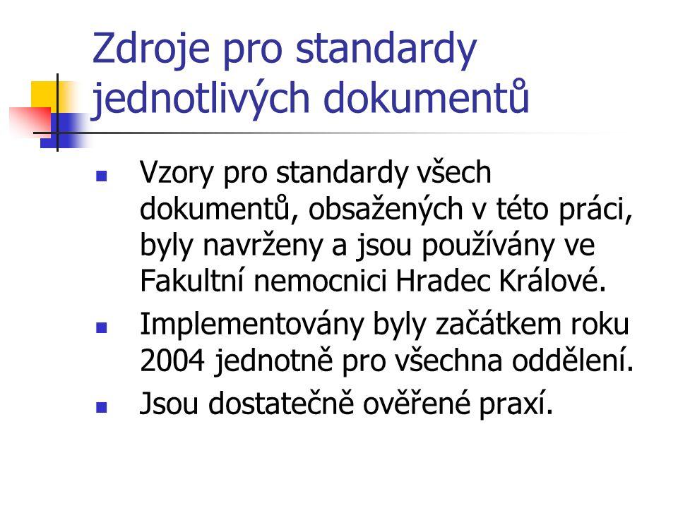 Zdroje pro standardy jednotlivých dokumentů Vzory pro standardy všech dokumentů, obsažených v této práci, byly navrženy a jsou používány ve Fakultní nemocnici Hradec Králové.