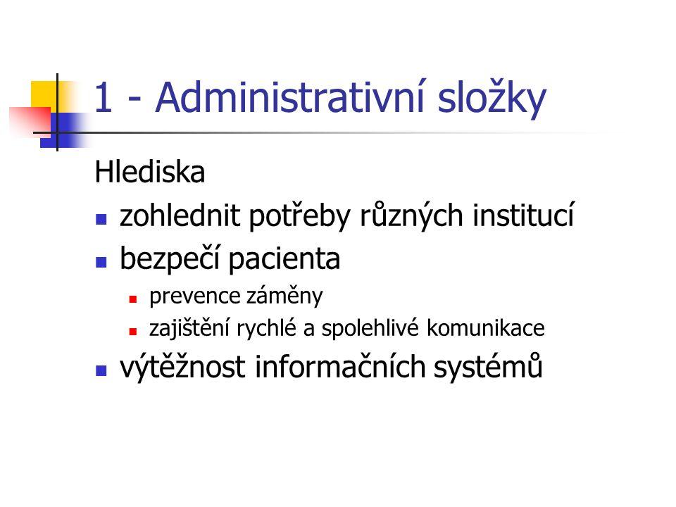 1 - Administrativní složky Hlediska zohlednit potřeby různých institucí bezpečí pacienta prevence záměny zajištění rychlé a spolehlivé komunikace výtěžnost informačních systémů