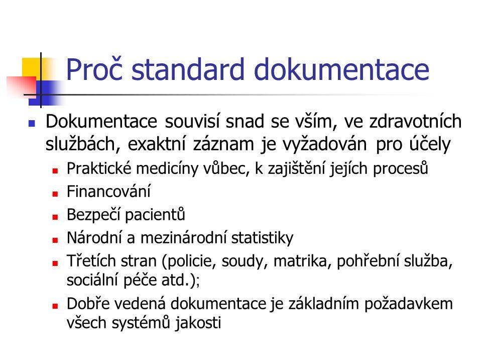 Proč standard dokumentace Dokumentace souvisí snad se vším, ve zdravotních službách, exaktní záznam je vyžadován pro účely Praktické medicíny vůbec, k zajištění jejích procesů Financování Bezpečí pacientů Národní a mezinárodní statistiky Třetích stran (policie, soudy, matrika, pohřební služba, sociální péče atd.) ; Dobře vedená dokumentace je základním požadavkem všech systémů jakosti