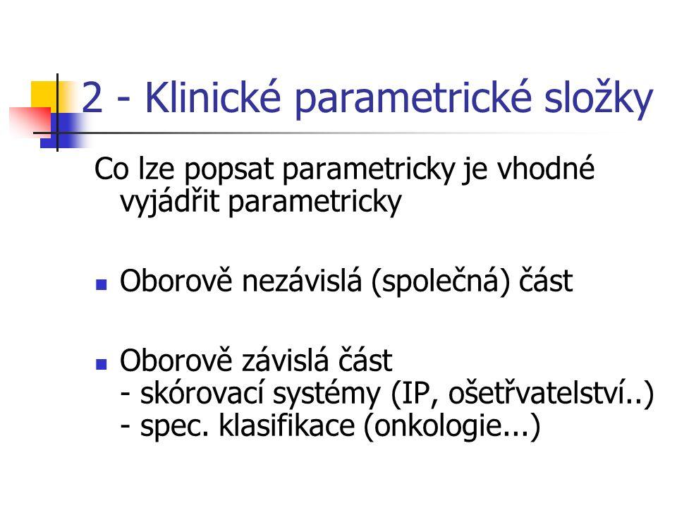 2 - Klinické parametrické složky Co lze popsat parametricky je vhodné vyjádřit parametricky Oborově nezávislá (společná) část Oborově závislá část - skórovací systémy (IP, ošetřvatelství..) - spec.