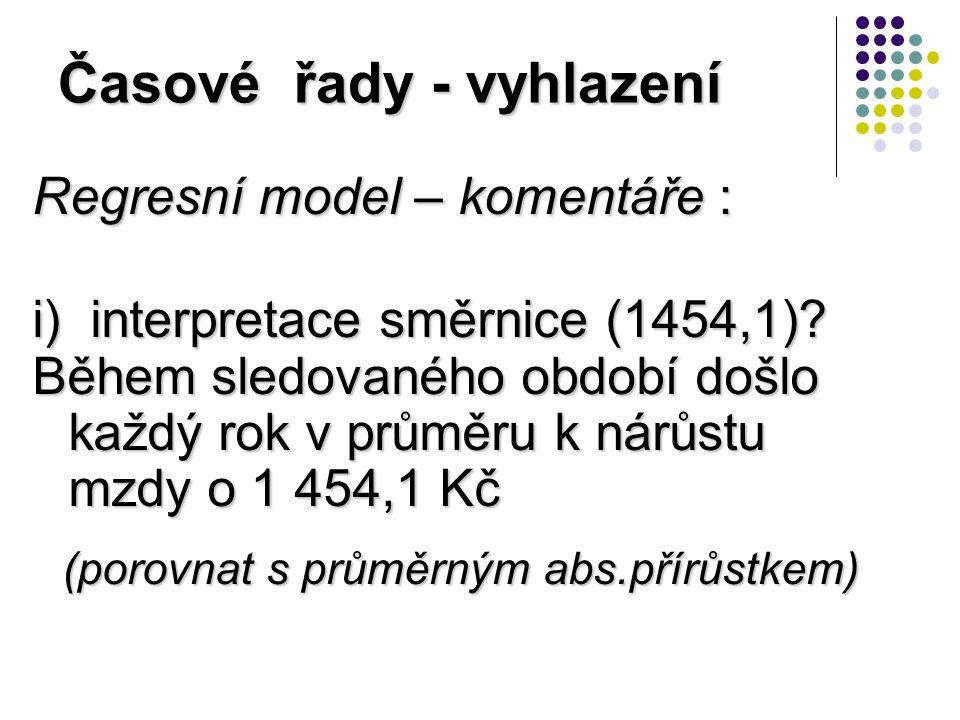 Časové řady - vyhlazení Regresní model – komentáře : i) interpretace směrnice (1454,1).