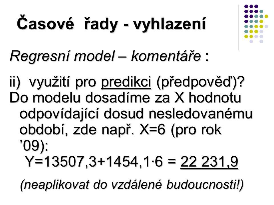Časové řady - vyhlazení Regresní model – komentáře : ii) využití pro predikci (předpověď).