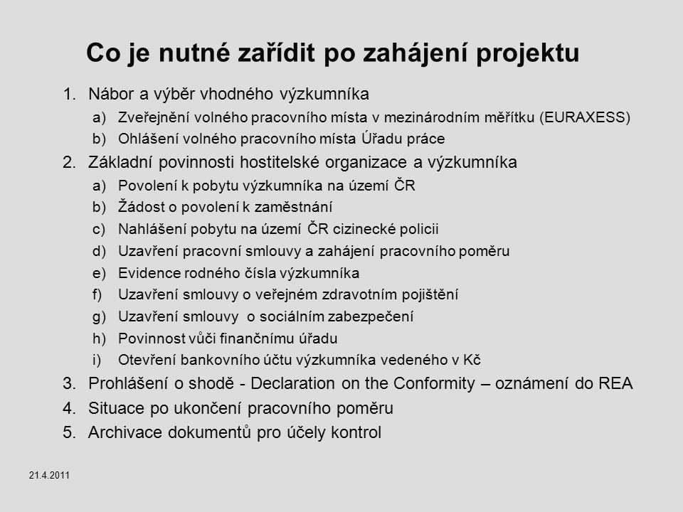 Co je nutné zařídit po zahájení projektu 1.Nábor a výběr vhodného výzkumníka a)Zveřejnění volného pracovního místa v mezinárodním měřítku (EURAXESS) b